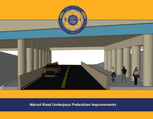 Marsol Road Underpass Pedestrian Improvements cover with link to plan