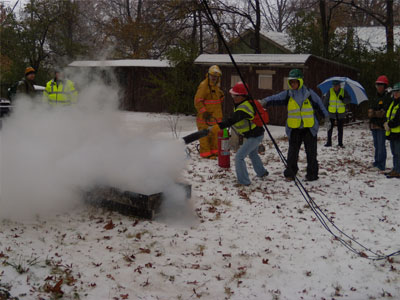 Men Putting out Outdoors Fire