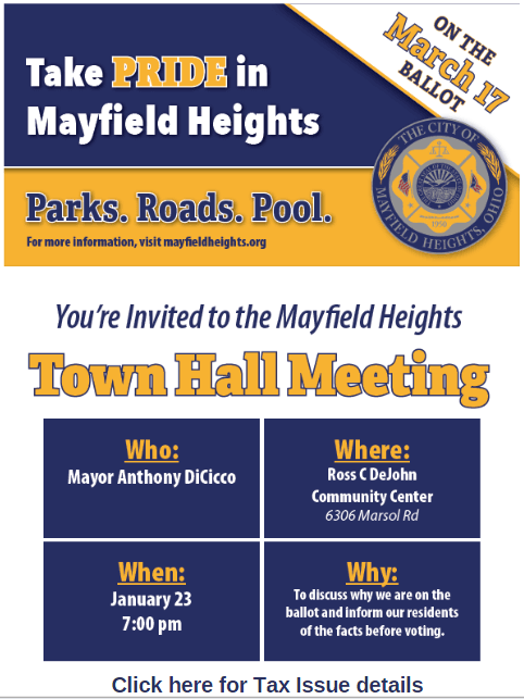 Flyer announcing Tax Issue Town Hall meeting on January 23 at 7pm at DeJohn Community Center