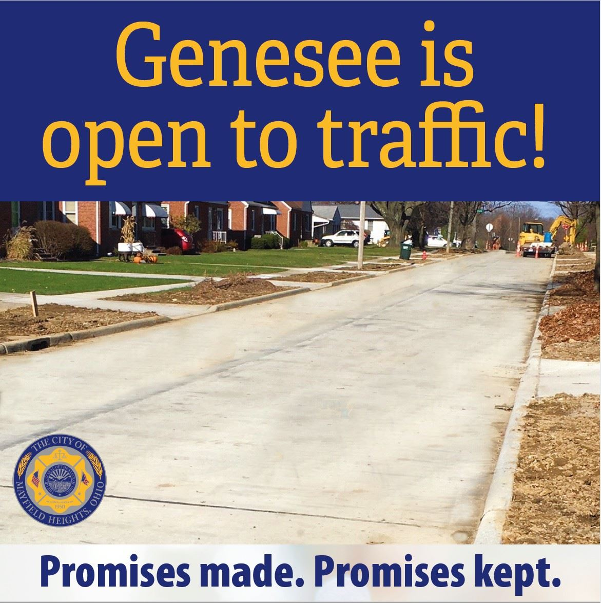 Graphic that says Genesee now open with photo of new pavement